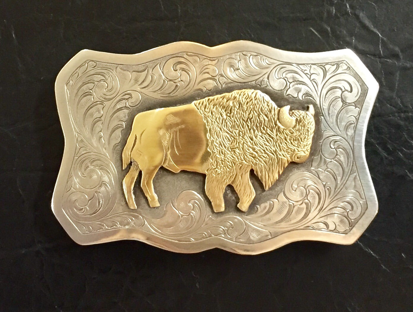Silver Belt Buckle with Bison