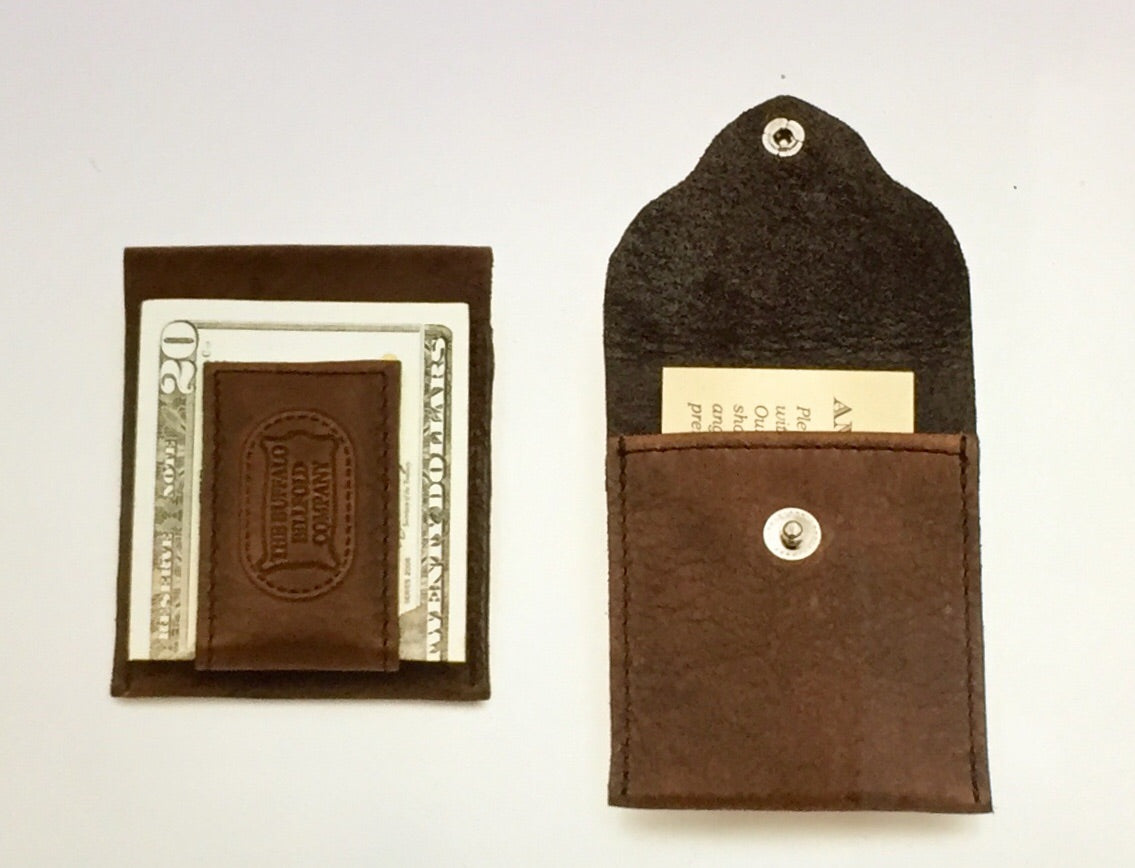 Bison Leather Magnetic Money Clip Wallet
