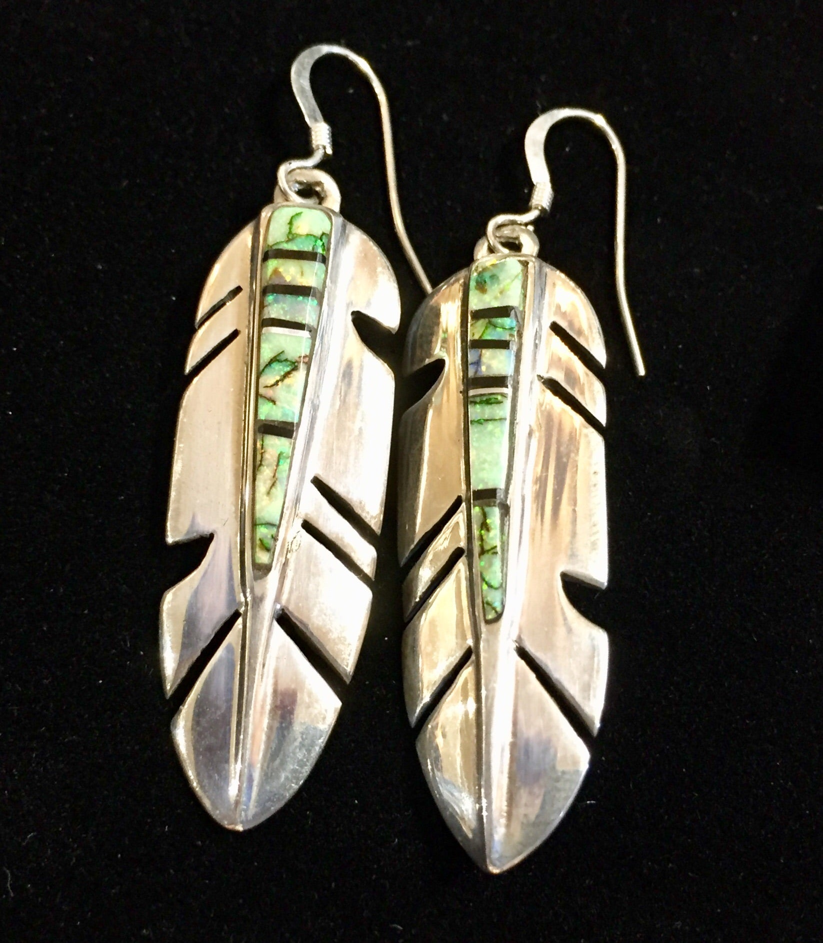 Sterling Silver Opal Inlay Feather Earrings