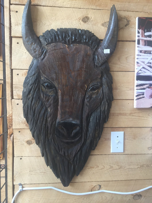 Carved Wall Bison Head