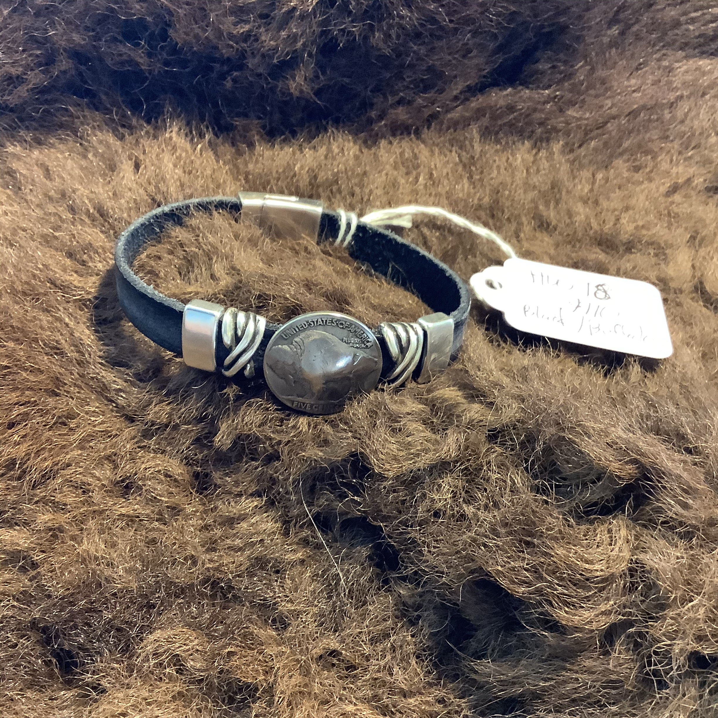 Crelling Bison Leather / Silver / Buffalo Nickel Bracelets