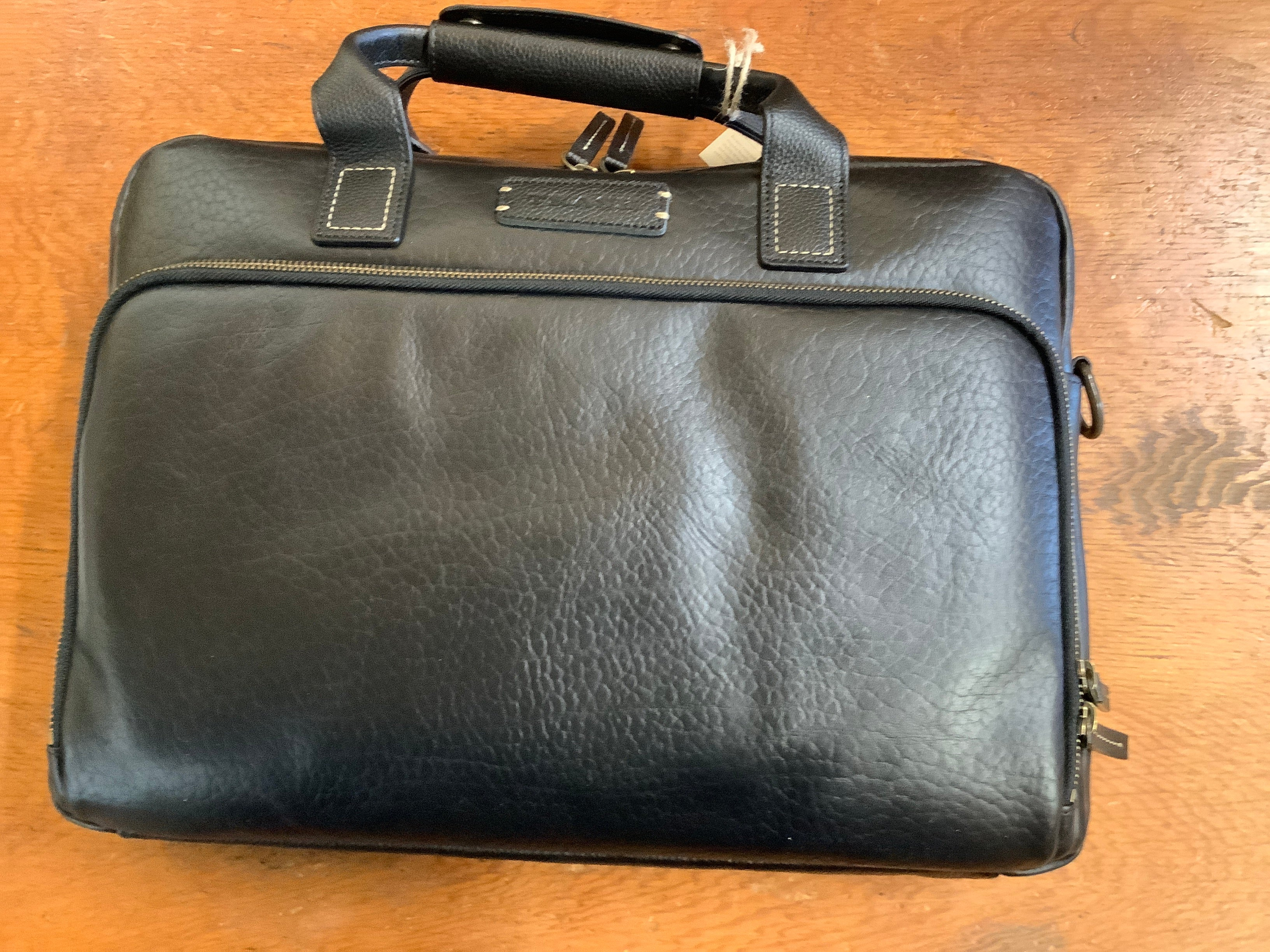 "SALE SALE - Trask ""Jackson"" - Laptop/briefcase in black bison leather  NOW JUST $225. 10 units only"