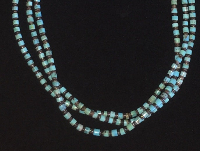 Three Strand Heishi and Turquoise Necklace and Earrings