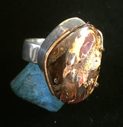 Man's Australian boulder opal sterling ring with gold trim