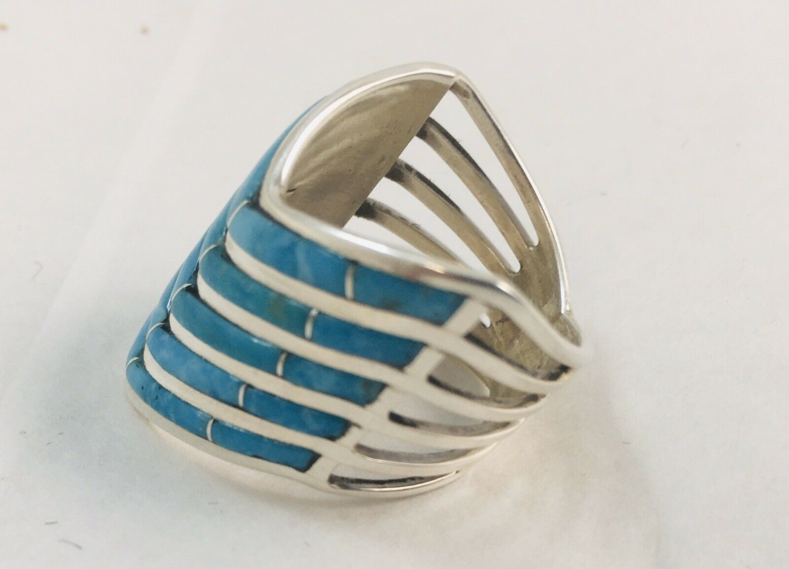 Turquoise Channel Inlay sterling silver ring - Native Made