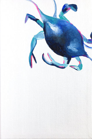 blue and teal crab painting on white background
