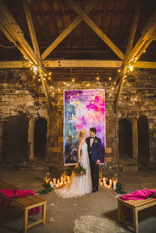 Jewel Toned Wedding Backdrop with Gold Accents