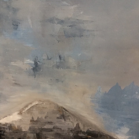 blue grey and white abstract landscape work in progress