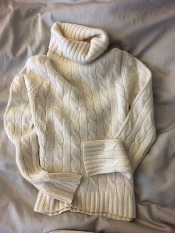 J. Crew creamy white cable knit sweater