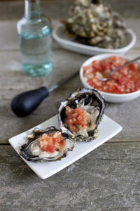 Oysters on the Half Shell with a Tequila Salsa