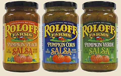 Roloff Farms Pumpkin Salsa Variety Pack (Peach, Corn, and Verde), 14 Ounce 3 Pack