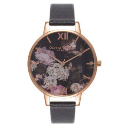 Olivia Burton Women Signature Floral Black & Rose Gold Watch (OB15WG12)