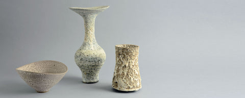 Lucie Rie stoneware vases and bowl with volcanic glaze for sale