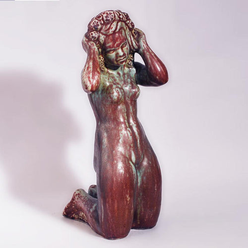 Stoneware figure of a kneeling woman by Harald Salomon N6627