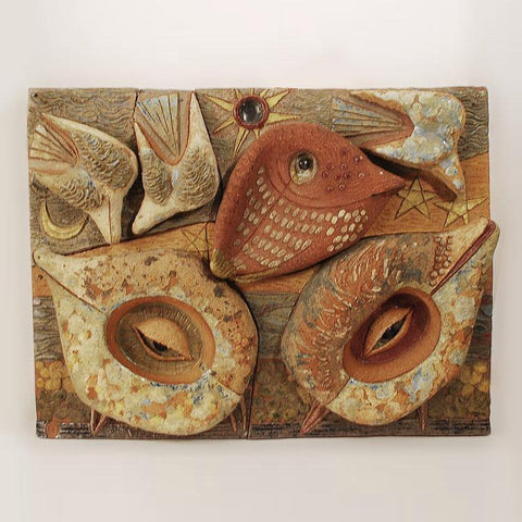 Unique stoneware plaque by Tyra Lundgren for Gustavsberg