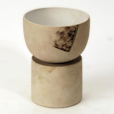 Stoneware bowl on pedestal with matte off white glaze by Gordon Baldwin