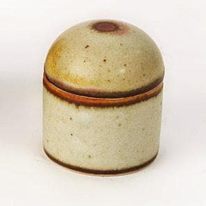 Unique stoneware lidded jar by Ursula Scheid