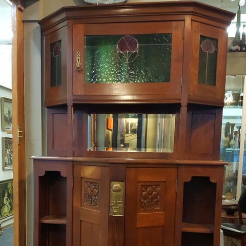 German art nouveau leaded light cabinet N7340