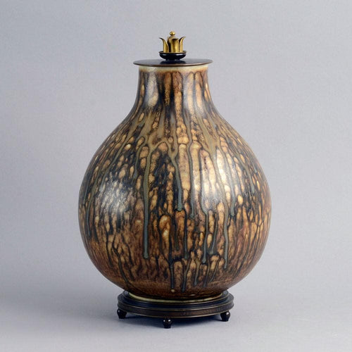 Large unique stoneware lidded jar by Carl Halier B3349