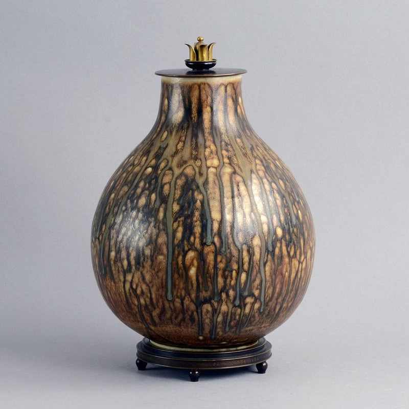 Large unique stoneware lidded jar by Carl Halier