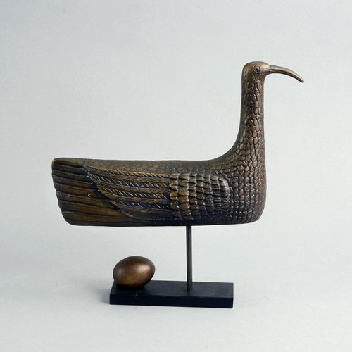 Limited edition bronze bird sculpture by Stig Lindberg for Scandia Present with booklet B4041