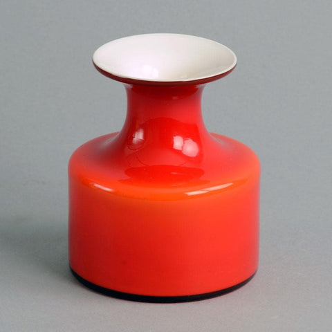 """Carnaby"" vase in red and white glass by Per Lutken"