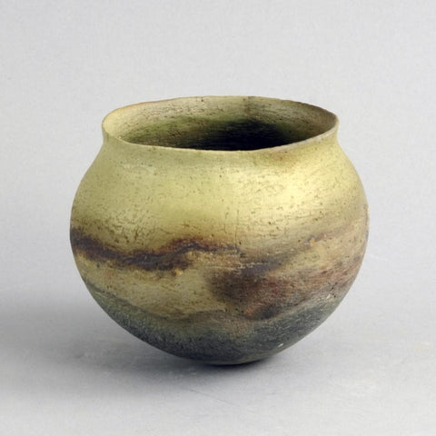 Green and brown stoneware vase by Elspeth Owen