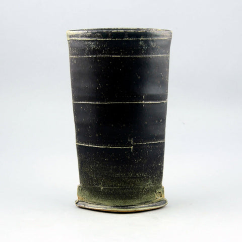 Scott Goldberg stoneware vase with dark brown glaze D6144