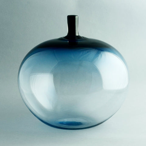 "Ingeborg Lundin, Orrefors, ""Melon"" vase in blue glass"