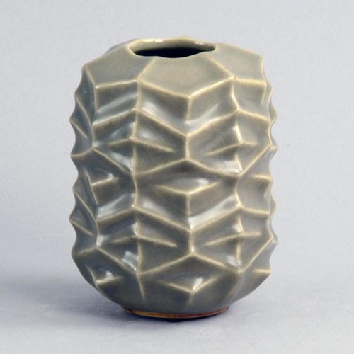 Green faceted stoneware vase by Melike Ababiyanik for Royal Copenhagen N8097