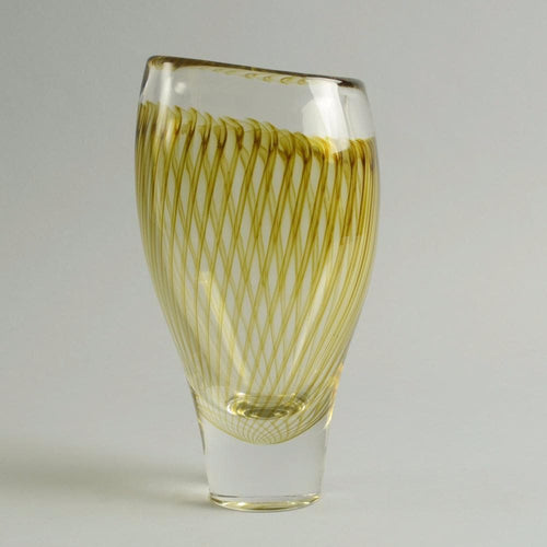 Yellow glass vase Vicke Lindstrand for Kosta