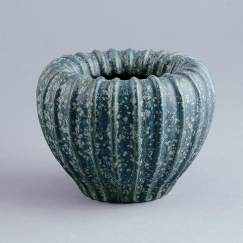 Arne Bang, Denmark, ribbed stoneware vase with matte blue glaze C5489