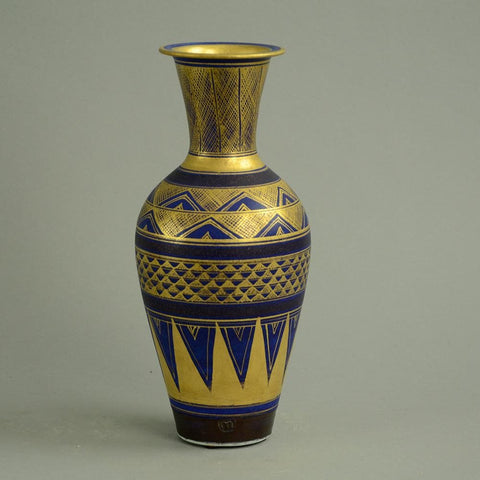 stoneware vase with blue and gold glaze by Mary Rich