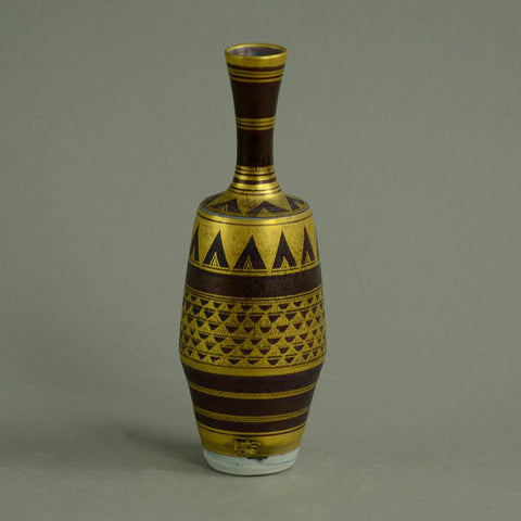 stoneware vase with purple and gold glaze by Mary Rich