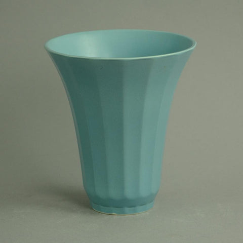 Porcelain bowl with matte blue glaze by Keith Murray for Wedgewood