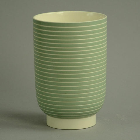 Porcelain bowl with matte green glaze by Keith Murray for Wedgewood