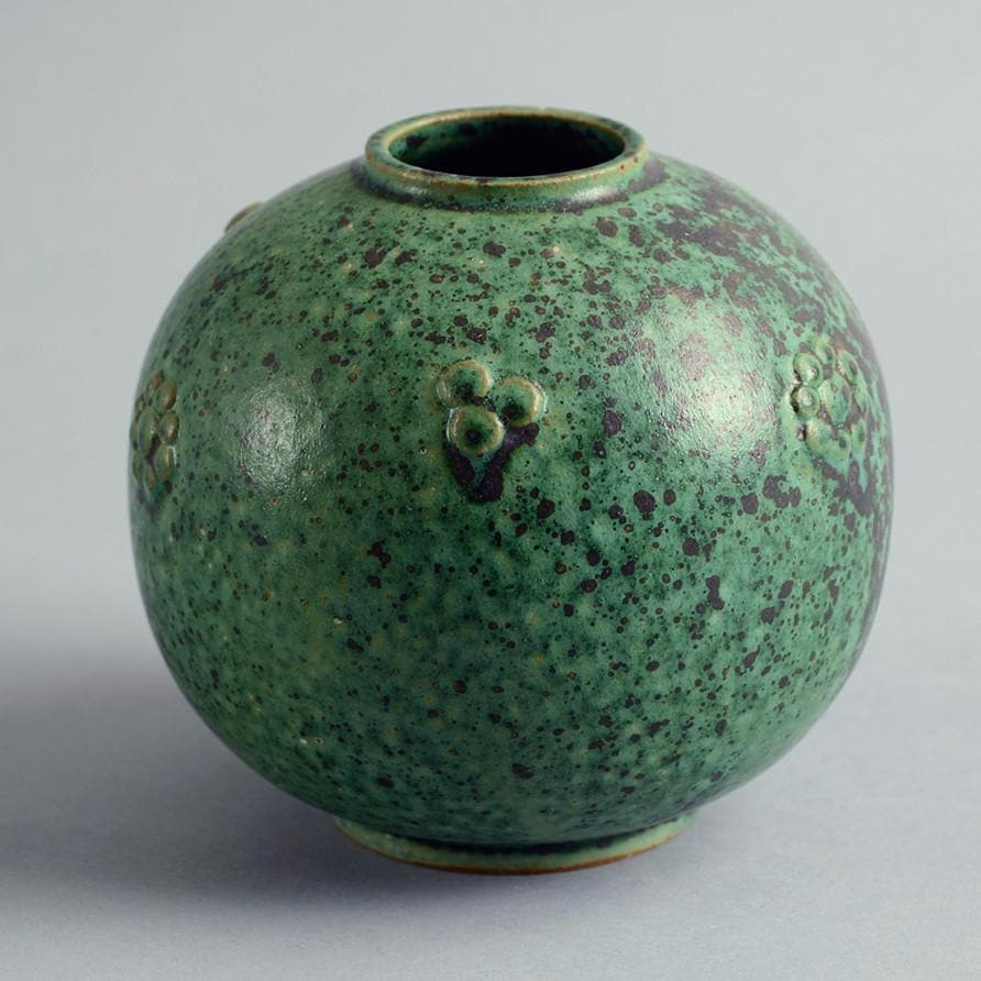 Spherical stoneware vase by Arne Bang