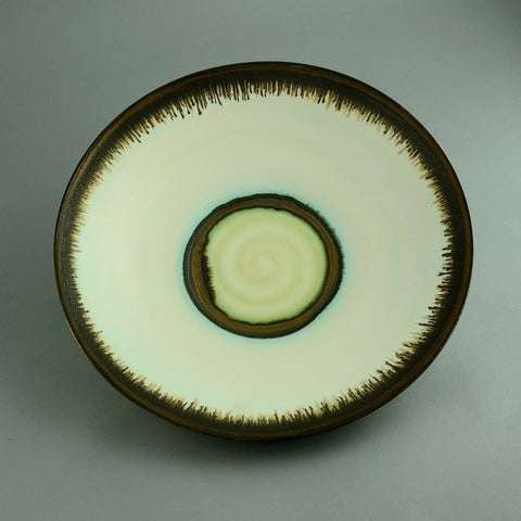 Peter Wills very large bowl with matte white and dripping metallic glaze D6026