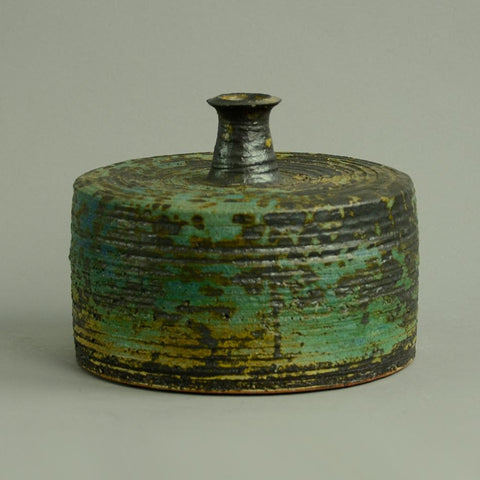 Unique stoneware cylindrical bottle vase by Annikki Hovisaari for Arabia
