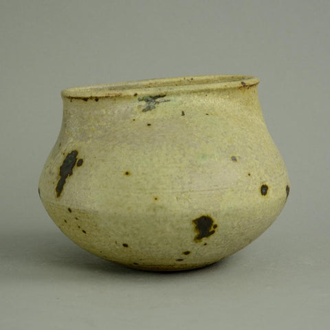 Unique hand-thrown squat stoneware vessel by Francesca Mascitti Lindh for Arabia