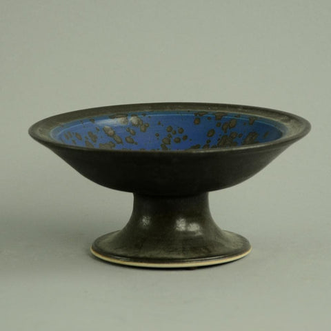 Unique stoneware footed bowl by Annikki Hovisaari for Arabia