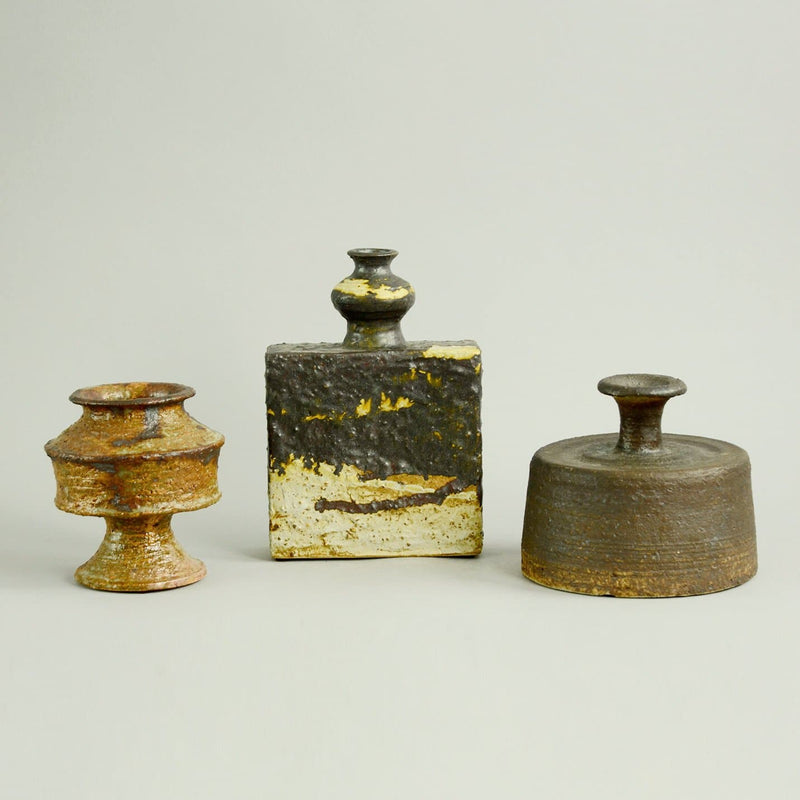 Three vases with brown glaze by Arabia