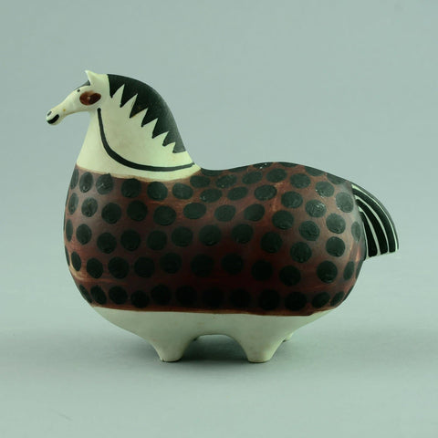 Stoneware horse with hand painted decoration by Stig Lindberg A1265