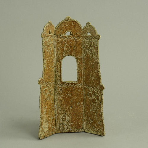 Unique stoneware free standing figure of a building facade by John Maltby N7105
