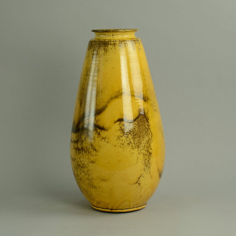 Vase with yellow and brown glossy glaze by Svend Hammershoj  B3926