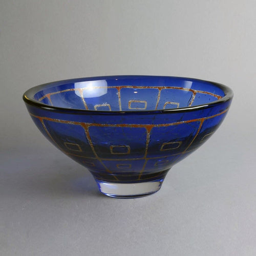 "Blue glass ""Ravenna"" bowl by Sven Palmquist for Orrefors N1299"