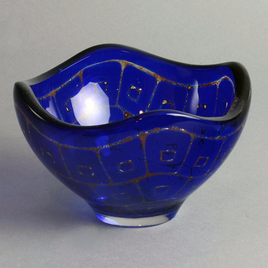 "Blue glass ""Ravenna"" bowl by Sven Palmquist for Orrefors"