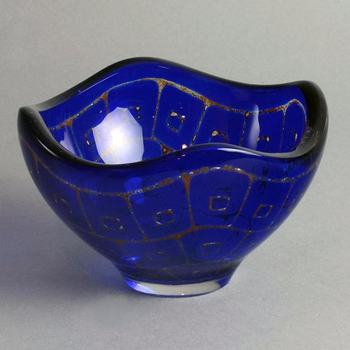 "Blue glass ""Ravenna"" bowl by Sven Palmquist for Orrefors F1888"
