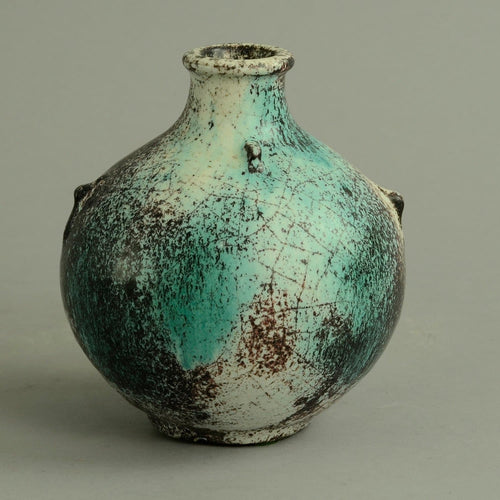Earthenware vase with black, white and green matte glaze by Svend Hammershoj