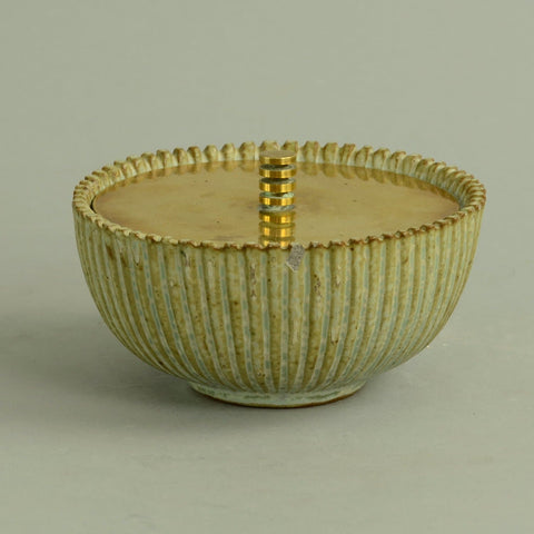 Stoneware fluted bowl with polished bronze lid by Arne Bang